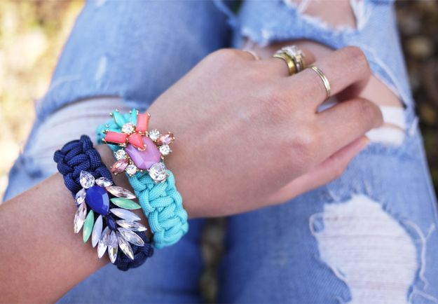 DIY Paracord Bracelet Ideas - DIY Jeweled Paracord Bracelet - Tutorials for Easy Woven Paracord Bracelets   Survival and Stitched Patterns With Instructions and How To