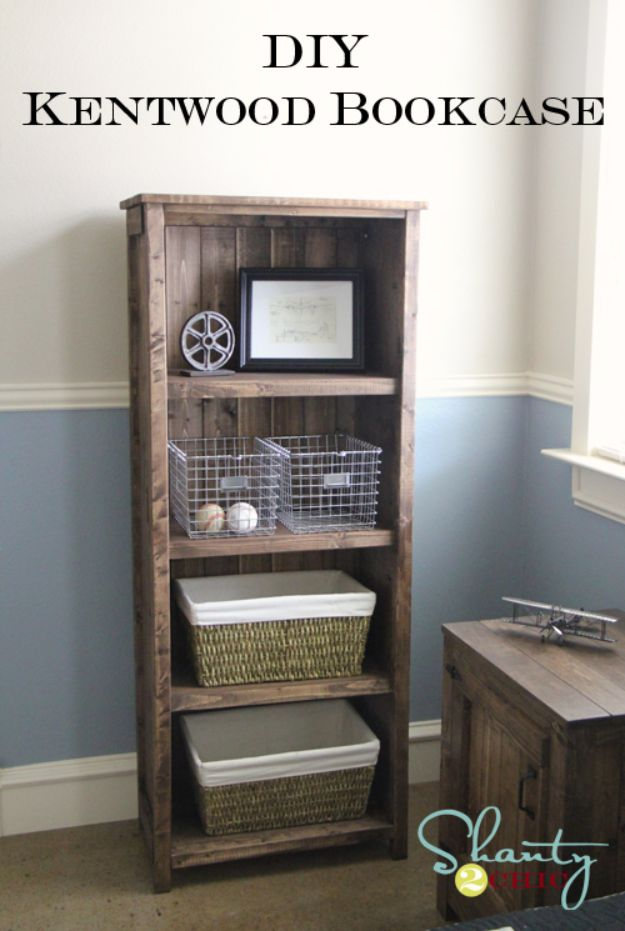 DIY Bookshelves - DIY Kentwood Bookcase - Easy Book Shelf Ideas to Build for Cheap Home Decor - Tutorials and Plans, Best IKEA Hacks, Rustic Farmhouse and Mid Century Modern