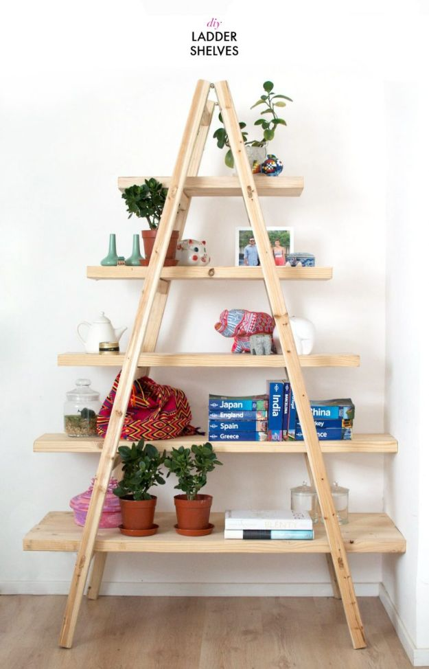 DIY Bookshelves - DIY Ladder Shelves - Easy Book Shelf Ideas to Build for Cheap Home Decor - Tutorials and Plans, Best IKEA Hacks, Rustic Farmhouse and Mid Century Modern