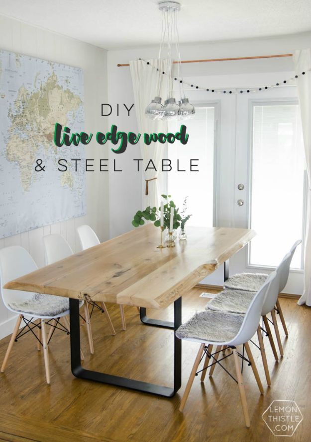 DIY Midcentury Modern Decor Ideas - DIY Live Edge Wood & Steel Table - DYI Mid Centurty Modern Furniture and Home Decorations - Chairs, Sofa, Wall Art , Shelves, Bedroom and Living Room