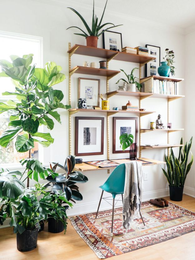 DIY Midcentury Modern Decor Ideas - DIY Mid-Century Desk Wall Unit - DYI Mid Centurty Modern Furniture and Home Decorations - Chairs, Sofa, Wall Art , Shelves, Bedroom and Living Room