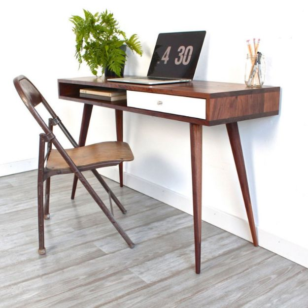 DIY Midcentury Modern Decor Ideas - DIY Mid-Century Modern Desk - DYI Mid Centurty Modern Furniture and Home Decorations - Chairs, Sofa, Wall Art , Shelves, Bedroom and Living Room