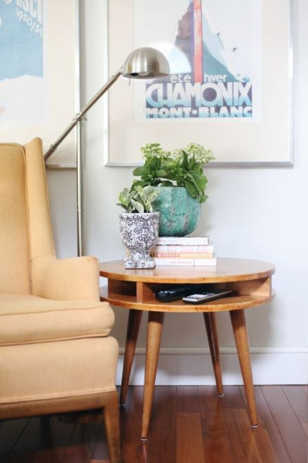 DIY Midcentury Modern Decor Ideas - DIY Mid-Century Modern Side Table DIY - DYI Mid Centurty Modern Furniture and Home Decorations - Chairs, Sofa, Wall Art , Shelves, Bedroom and Living Room