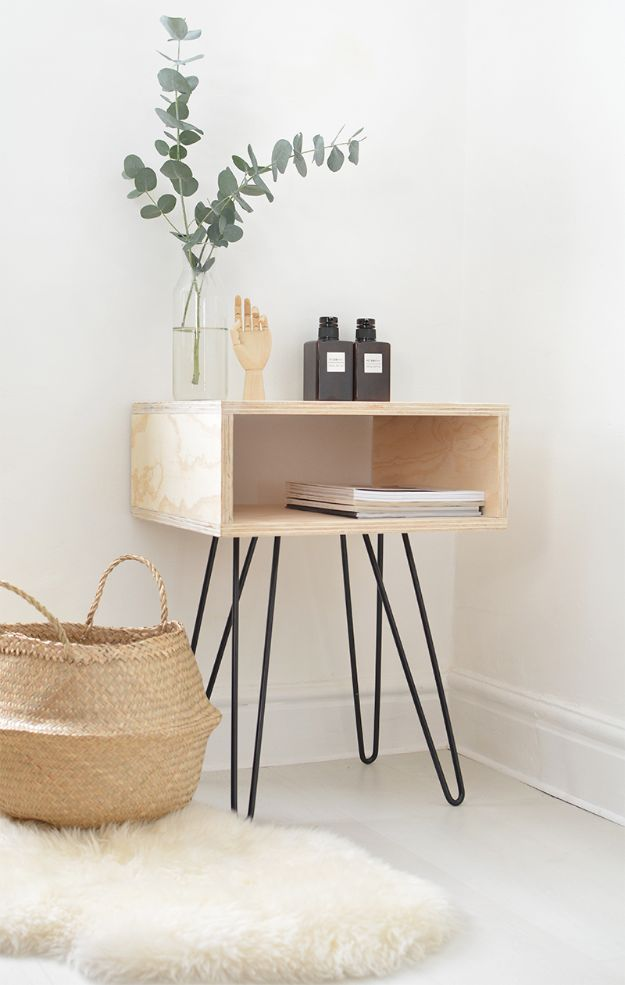 DIY Midcentury Modern Decor Ideas - DIY Mid-Century Nightstand - DYI Mid Centurty Modern Furniture and Home Decorations - Chairs, Sofa, Wall Art , Shelves, Bedroom and Living Room