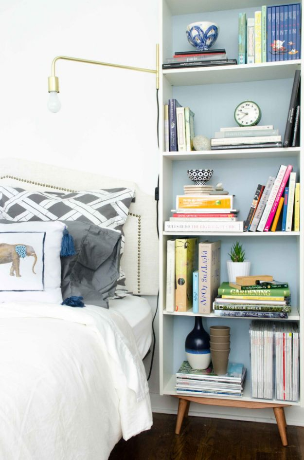 DIY Midcentury Modern Decor Ideas - DIY Mid-Century bookcase IKEA hack - DYI Mid Centurty Modern Furniture and Home Decorations - Chairs, Sofa, Wall Art , Shelves, Bedroom and Living Room