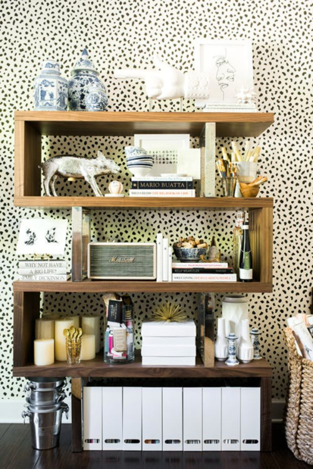 DIY Bookshelves - DIY Modern Rustic Bookshelf - Easy Book Shelf Ideas to Build for Cheap Home Decor - Tutorials and Plans, Best IKEA Hacks, Rustic Farmhouse and Mid Century Modern