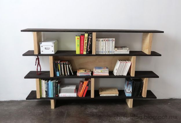 DIY Bookshelves - DIY Office Bookcase - Easy Book Shelf Ideas to Build for Cheap Home Decor - Tutorials and Plans, Best IKEA Hacks, Rustic Farmhouse and Mid Century Modern