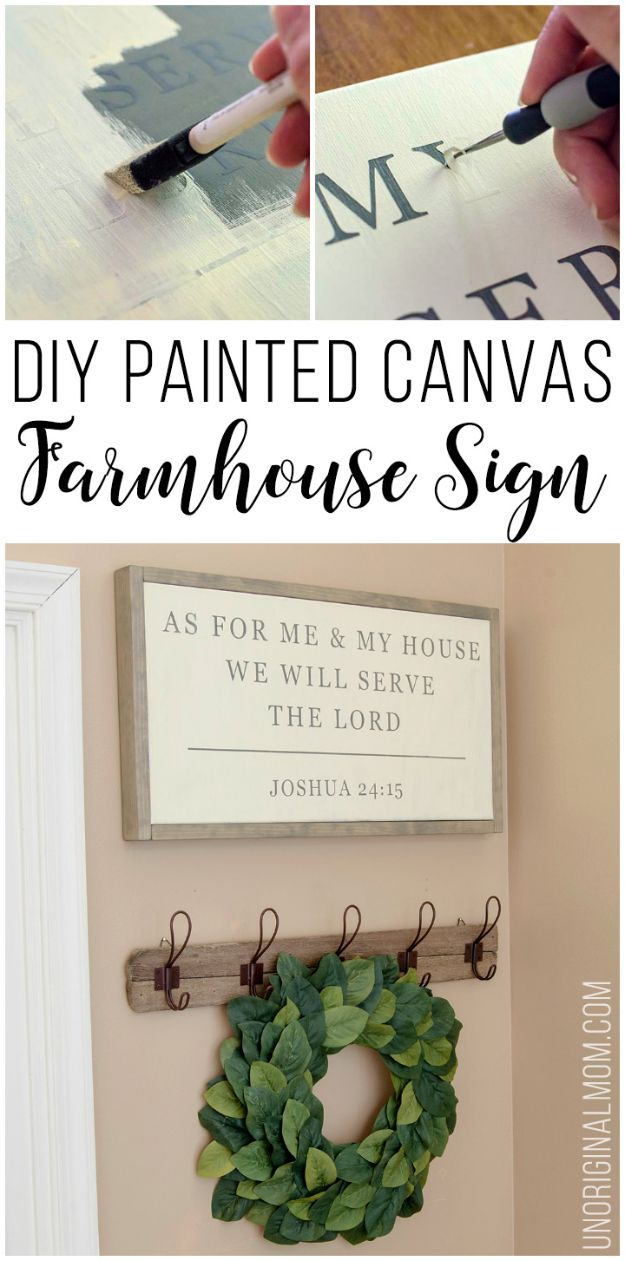 DIY Signs To Make For Your Home | DIY Painted Canvas Farmhouse Sign - Rustic Wall Art Ideas and Homemade Sign for Bedroom, Kitchen, Farmhouse Decor | Stencil Pallet and Distressed Vintage