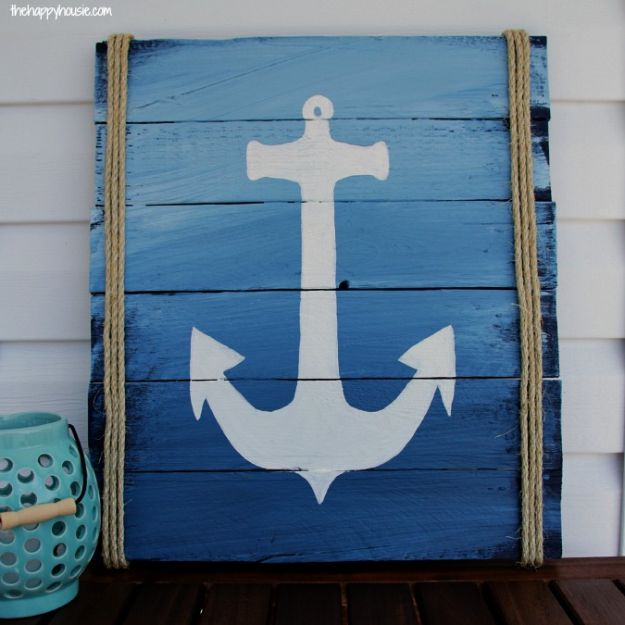 DIY Signs To Make For Your Home | DIY Pallet Anchor Sign - Rustic Wall Art Ideas and Homemade Sign for Bedroom, Kitchen, Farmhouse Decor | Stencil Pallet and Distressed Vintage
