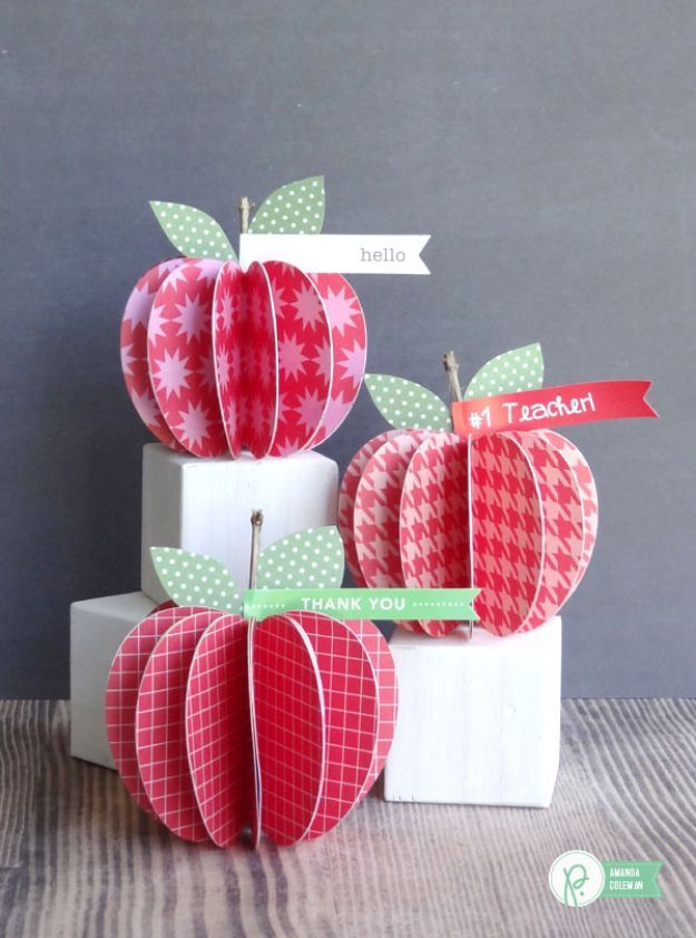 DIY Apple Crafts | DIY Paper Apples - Cute and Easy DIY Ideas With Apples - Painting, Mason Jars, Home Decor