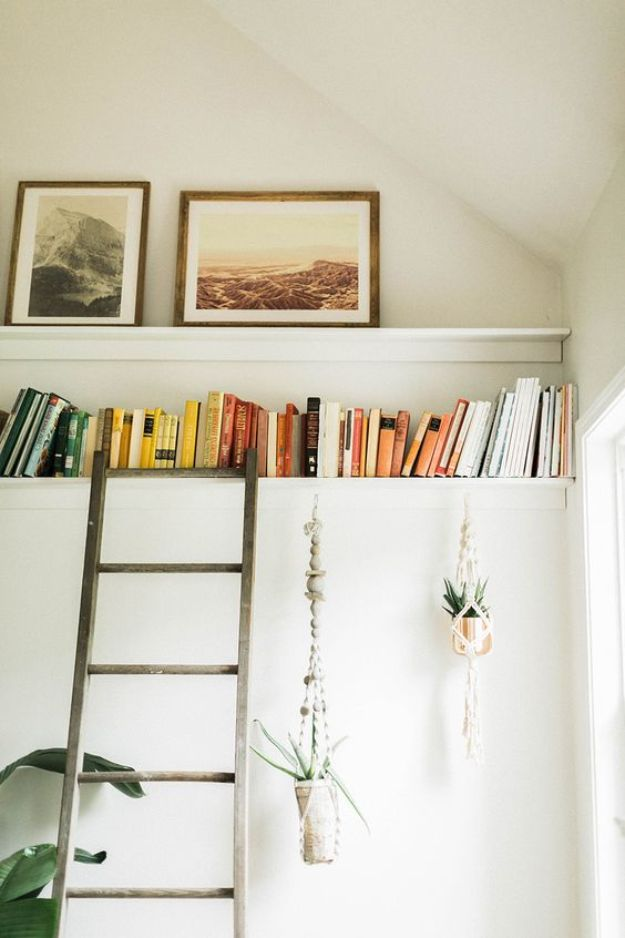DIY Bookshelf Ideas - DIY Picture Ledge + Bookshelf - DYI Bookshelves and Projects - Easy and Cheap Home Decor Idea for Bedroom, Living Room - Step by Step tutorial #diy #diyideas #diydecor #homedecor