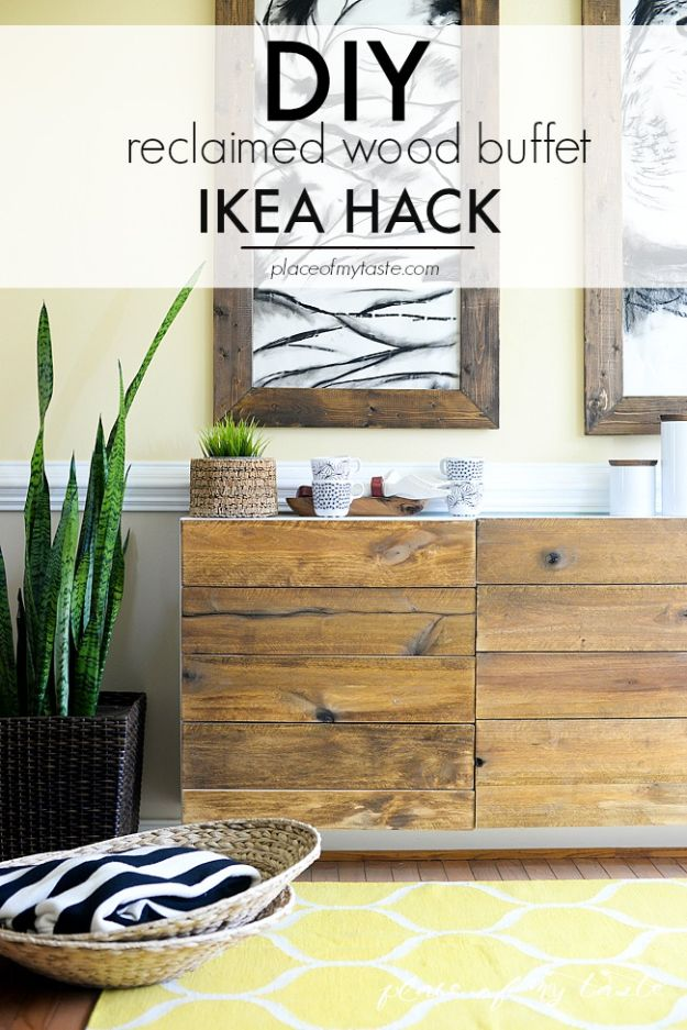 DIY Sideboards - DIY Reclaimed Wood Buffet Ikea Hack – Storage Cabinet - Easy Furniture Ideas to Make On A Budget - DYI Side Board Tutorial for Makeover, Building Wooden Home Decor