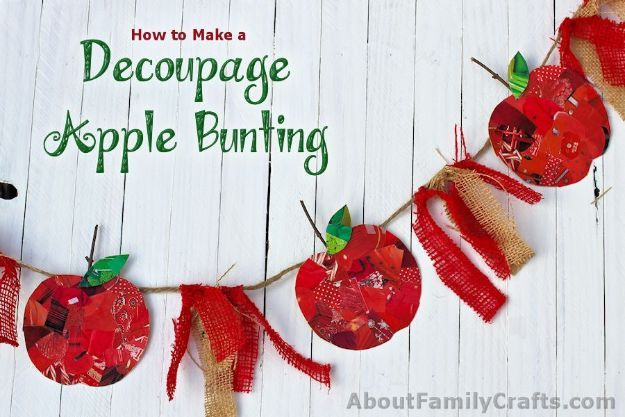 DIY Apple Crafts | DIY Recycled Apple Bunting - Cute and Easy DIY Ideas With Apples - Painting, Mason Jars, Home Decor