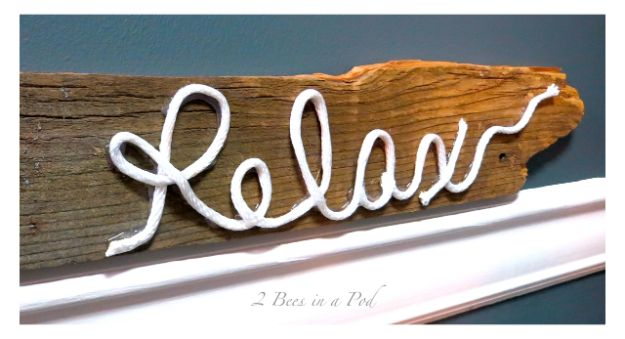DIY Signs To Make For Your Home | DIY Rustic Sign – Made from Fence Post and Rope - Rustic Wall Art Ideas and Homemade Sign for Bedroom, Kitchen, Farmhouse Decor | Stencil Pallet and Distressed Vintage