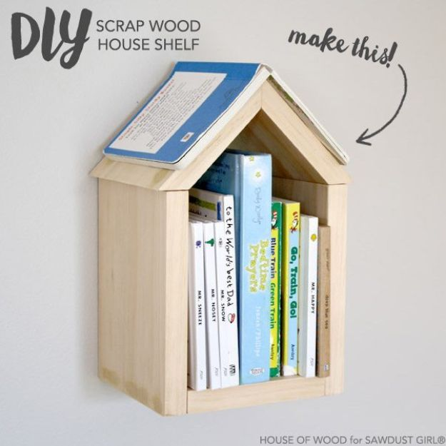 DIY Bookshelf Ideas - DIY Scrap Wood House Shelf - Easy Woodworking Projects - Cool Crafts For Teen Boys - Things to Make From Scrap Wood