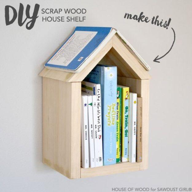 DIY Bookshelf Ideas - DIY Scrap Wood House Shelf - DYI Bookshelves and Projects - Easy and Cheap Home Decor Idea for Bedroom, Living Room - Step by Step tutorial #diy #diyideas #diydecor #homedecor