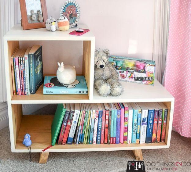 DIY Bookshelf Ideas - DIY Side Table Small Bookshelf - DYI Bookshelves Projects - Cheap Home Decor Furniture Idea for Books