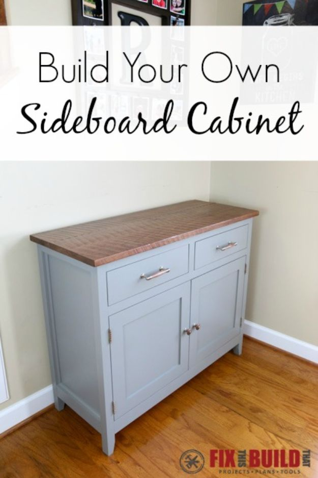 DIY Sideboards - DIY Sideboard Cabinet - Easy Furniture Ideas to Make On A Budget - DYI Side Board Tutorial for Makeover, Building Wooden Home Decor