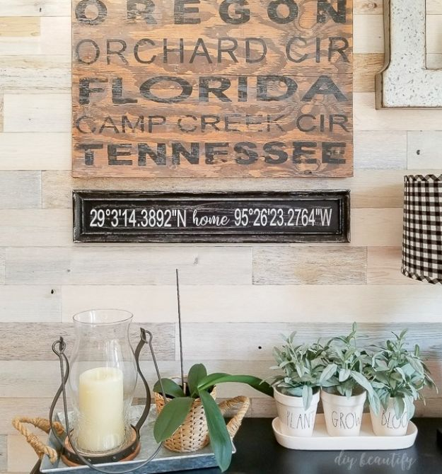 DIY Signs To Make For Your Home | DIY Sign with GPS Coordinates - Rustic Wall Art Ideas and Homemade Sign for Bedroom, Kitchen, Farmhouse Decor | Stencil Pallet and Distressed Vintage
