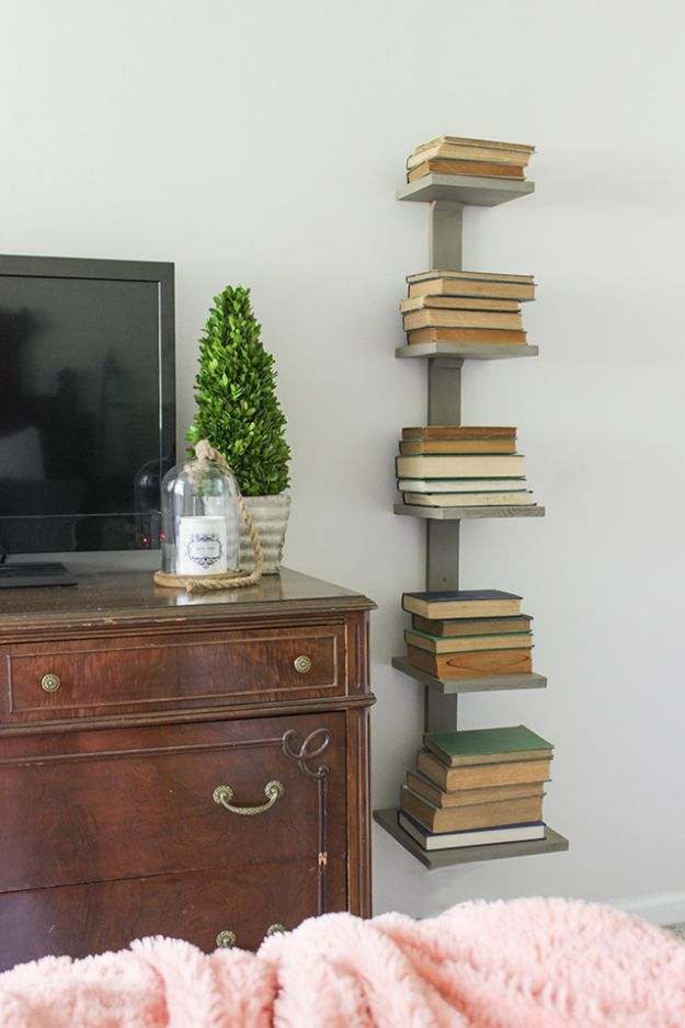DIY Bookshelves - DIY Spine Bookshelf- Easy Book Shelf Ideas to Build for Cheap Home Decor - Tutorials and Plans, Best IKEA Hacks, Rustic Farmhouse and Mid Century Modern