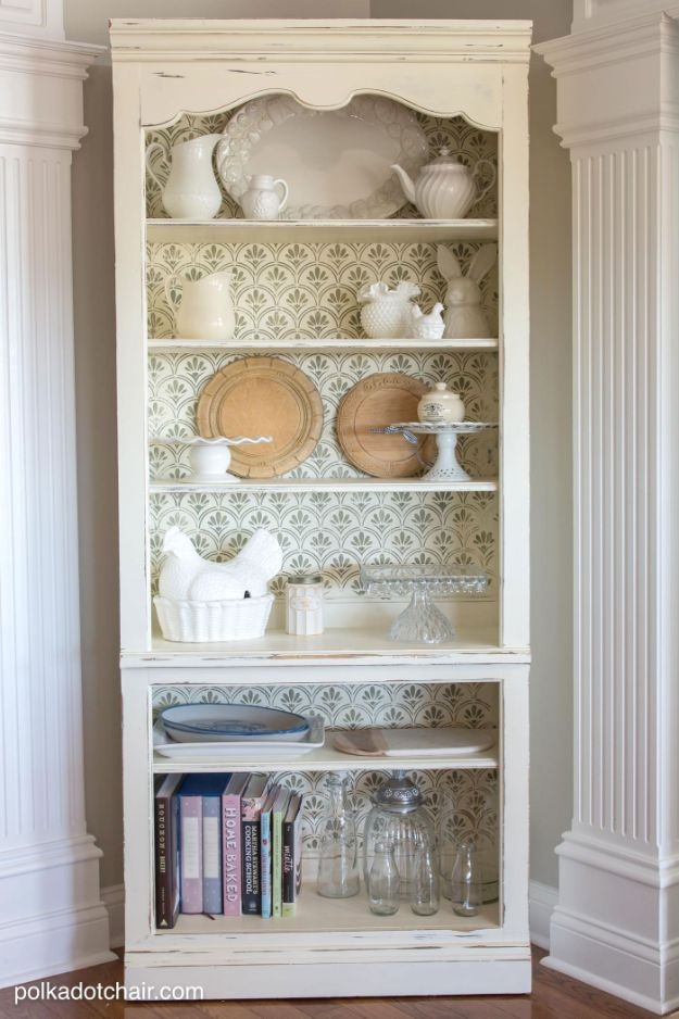 How to Make A DIY Bookshelf - DIY Stenciled Bookcase - Rustic Home Decor Ideas - Farmhouse Shelf for China and Books - Kitchen Decorating Projects