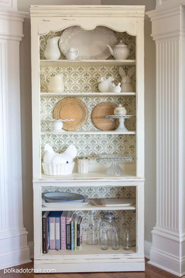 DIY Bookshelf Ideas - DIY Stenciled Bookcase - DYI Bookshelves and Projects - Easy and Cheap Home Decor Idea for Bedroom, Living Room - Step by Step tutorial #diy #diyideas #diydecor #homedecor