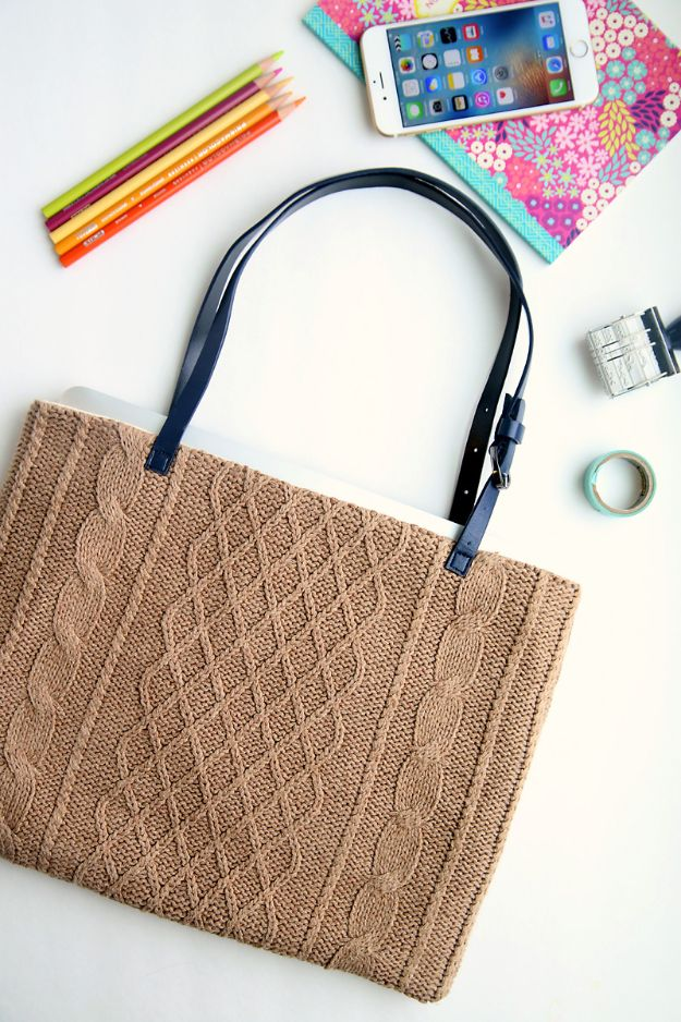 DIY Laptop Bags - DIY Sweater Laptop Tote - Easy Bag Projects to Make For Your Computer - Cool and Cheap Homemade Messnger Bags, Cases for Laptops - Shoulder Bag and Briefcase, Backpack