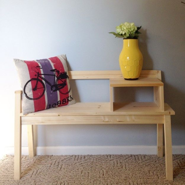 DIY Midcentury Modern Decor Ideas - DIY Telephone Bench - DYI Mid Centurty Modern Furniture and Home Decorations - Chairs, Sofa, Wall Art , Shelves, Bedroom and Living Room