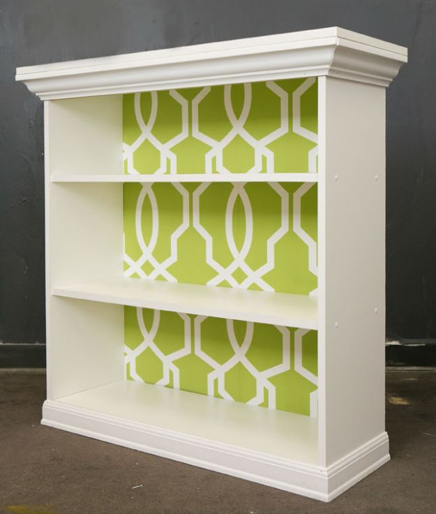 DIY Bookshelves - DIY Wallpapered Bookshelf - Easy Book Shelf Ideas to Build for Cheap Home Decor - Tutorials and Plans, Best IKEA Hacks, Rustic Farmhouse and Mid Century Modern