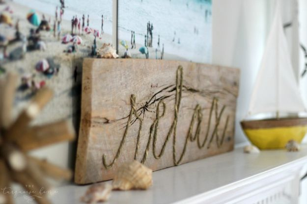 DIY Signs To Make For Your Home | DIY Weathered Rope Sign - Rustic Wall Art Ideas and Homemade Sign for Bedroom, Kitchen, Farmhouse Decor | Stencil Pallet and Distressed Vintage