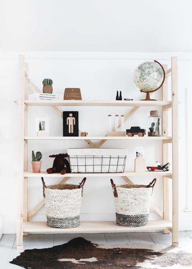 DIY Bookshelf Ideas - DIY Wood Bookshelf - DYI Bookshelves and Projects - Easy and Cheap Home Decor Idea for Bedroom, Living Room - Step by Step tutorial #diy #diyideas #diydecor #homedecor