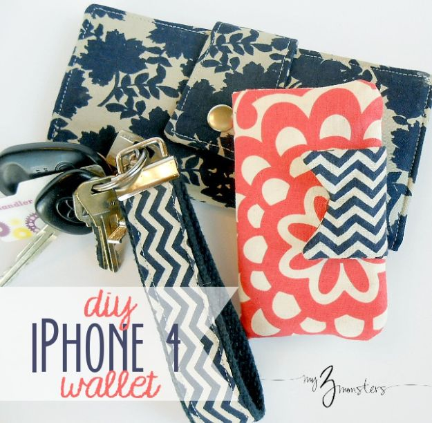 DIY Wallets - DIY iPhone Wallet - Cool and Easy DIY Wallet Ideas - Fabric, Duct Tape and Leather Crafts - Tutorial and Instructions for Making A Wallet - Cheap DIY Gifts