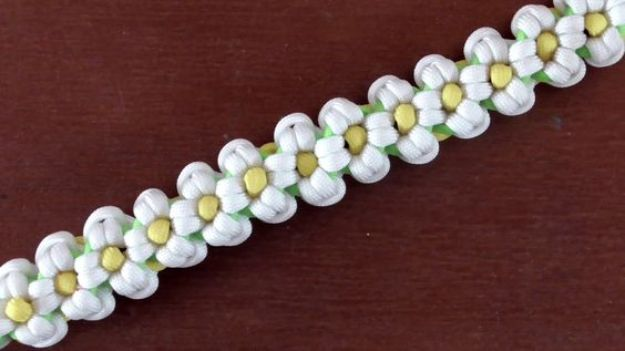 DIY Paracord Bracelet Ideas - Daisy Paracord Bracelet - Tutorials for Easy Woven Paracord Bracelets | Survival and Stitched Patterns With Instructions and How To