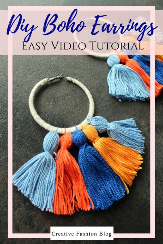 DIY Boho Clothes and Jewelry - Easy DIY Boho Tassel Earrings - How to Make Easy Boho Fashion On A Budget - Edgy Homemade Hippe Clothing Ideas for Summer, Winter, Spring and Fall