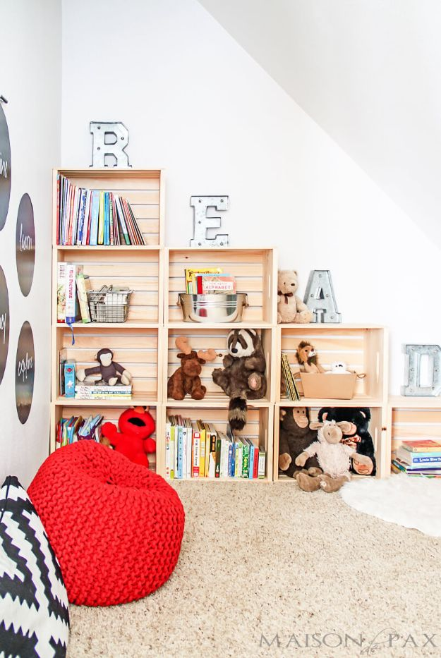 DIY Bookshelf Ideas - Easy DIY Playroom Stepped Crate Bookshelf - DYI Bookshelves and Projects - Easy and Cheap Home Decor Idea for Bedroom, Living Room - Step by Step tutorial #diy #diyideas #diydecor #homedecor