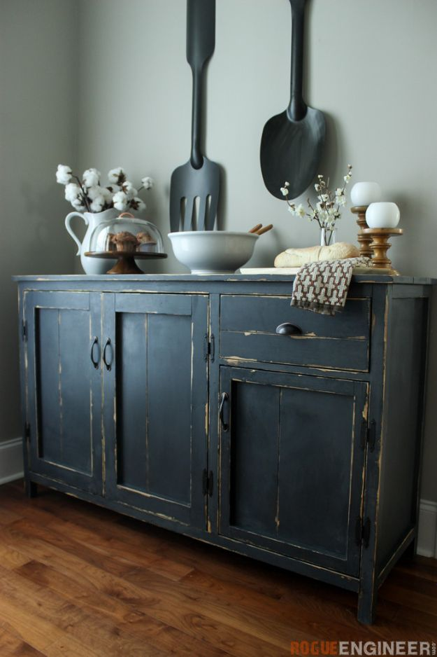 DIY Sideboards - Farmhouse Buffet - Easy Furniture Ideas to Make On A Budget - DYI Side Board Tutorial for Makeover, Building Wooden Home Decor