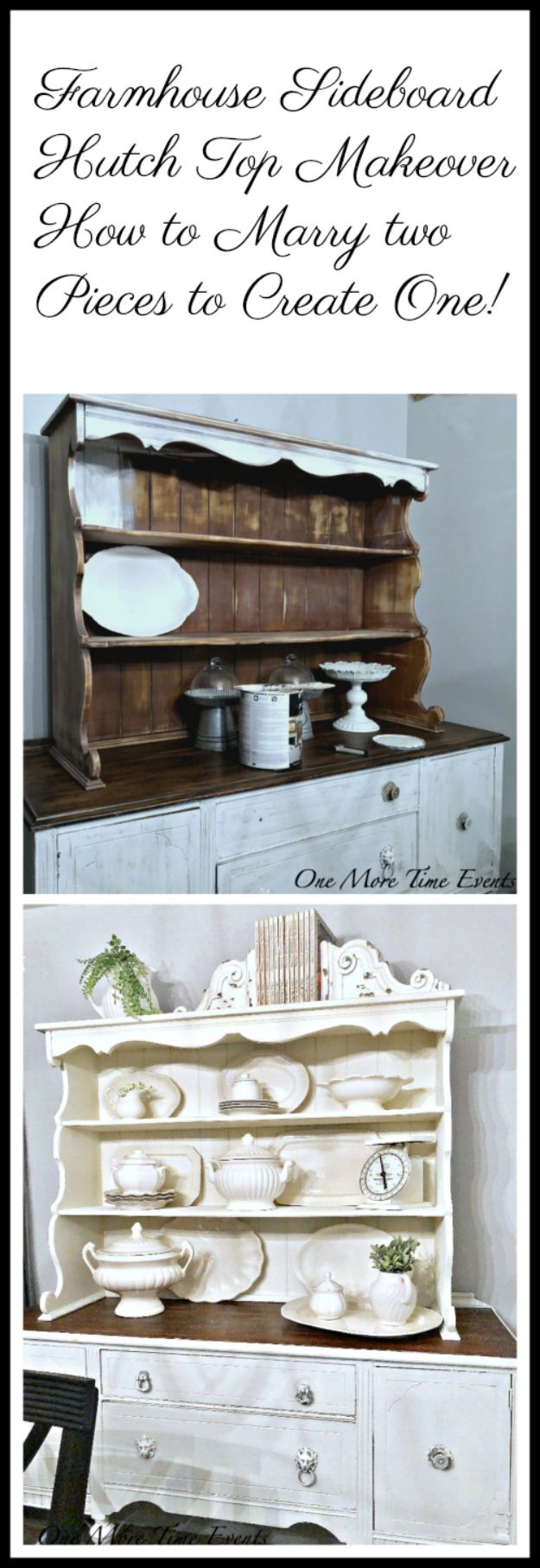 DIY Sideboards - Farmhouse Sideboard Hutch Top Makeover - Easy Furniture Ideas to Make On A Budget - DYI Side Board Tutorial for Makeover, Building Wooden Home Decor