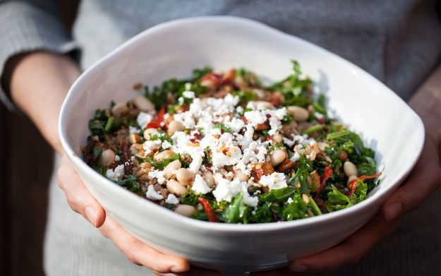 Recipes for Clean Eating - Farro Pilaf With Mushrooms, White Beans and Kale - Raw and Whole Foods, Unprocessed Meal and Snack Ideas for Lunch and Dinner - Fresh, Healthy Foods and Recipe Ideas