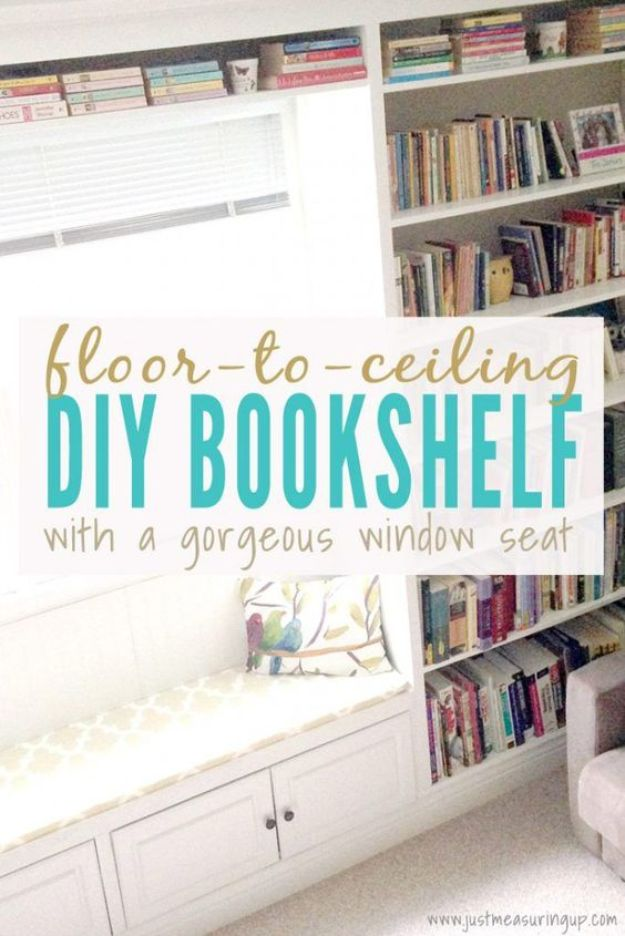 DIY Bookshelf Ideas - Floor to Ceiling Built-In Bookshelf - DYI Bookshelves and Projects - Easy and Cheap Home Decor Idea for Bedroom, Living Room - Step by Step tutorial #diy #diyideas #diydecor #homedecor