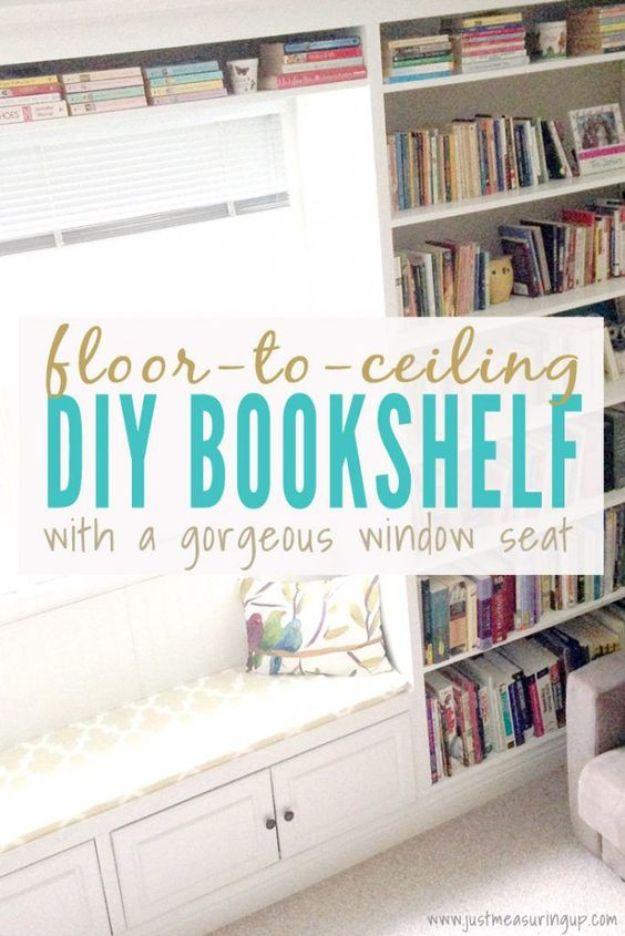 DIY Bookshelf Ideas - Floor to Ceiling Built-In Bookshelf - DYI Bookshelves and Projects - Easy and Cheap Home Decor Idea for Bedroom, Living Room - Step by Step tutorial #diy #diyideas #diydecor #homedecor