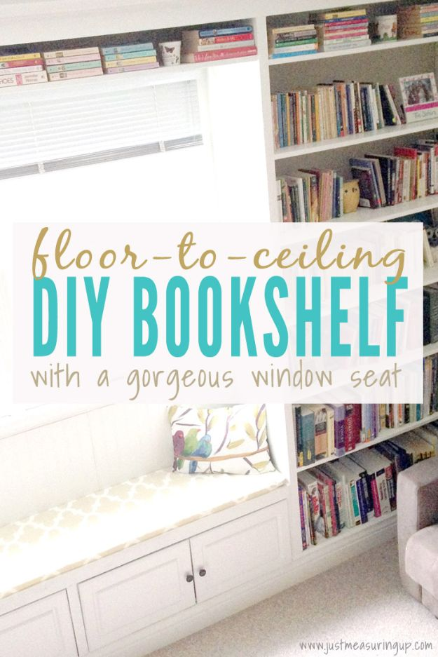 DIY Bookshelves - Floor to Ceiling DIY Bookshelf - Easy Book Shelf Ideas to Build for Cheap Home Decor - Tutorials and Plans, Best IKEA Hacks, Rustic Farmhouse and Mid Century Modern