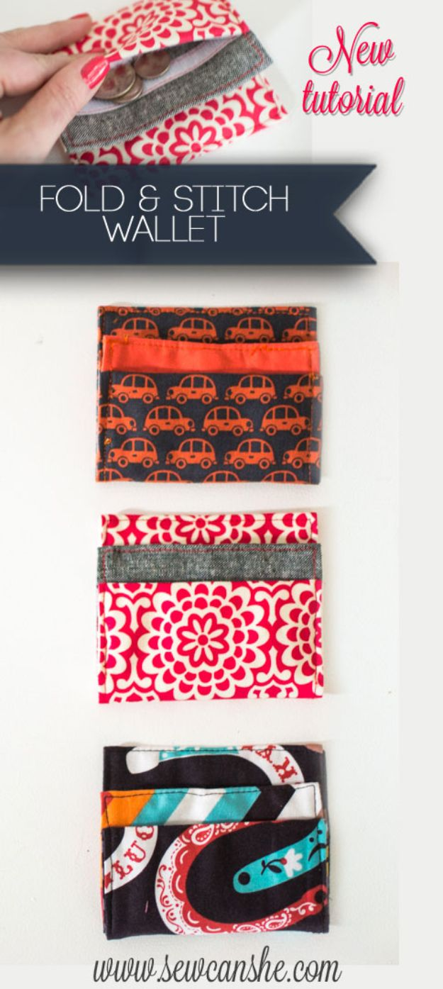DIY Wallets - Fold & Stitch Wallet - Cool and Easy DIY Wallet Ideas - Fabric, Duct Tape and Leather Crafts - Tutorial and Instructions for Making A Wallet - Cheap DIY Gifts