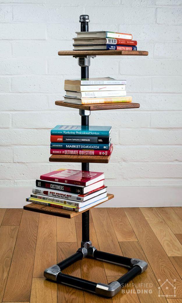 DIY Bookshelf Ideas - Free Standing Bookshelf - DYI Bookshelves and Projects - Easy and Cheap Home Decor Idea for Bedroom, Living Room - Step by Step tutorial #diy #diyideas #diydecor #homedecor