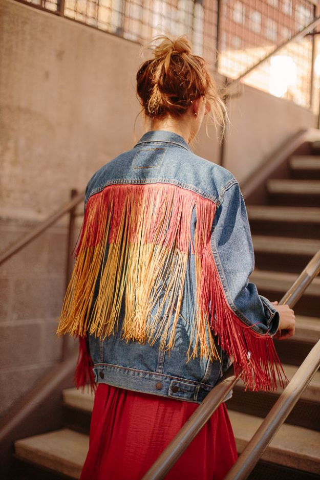 DIY Boho Clothes and Jewelry - Fringe Jean Jacket DIY - How to Make Easy Boho Fashion On A Budget - Edgy Homemade Hippe Clothing Ideas for Summer, Winter, Spring and Fall