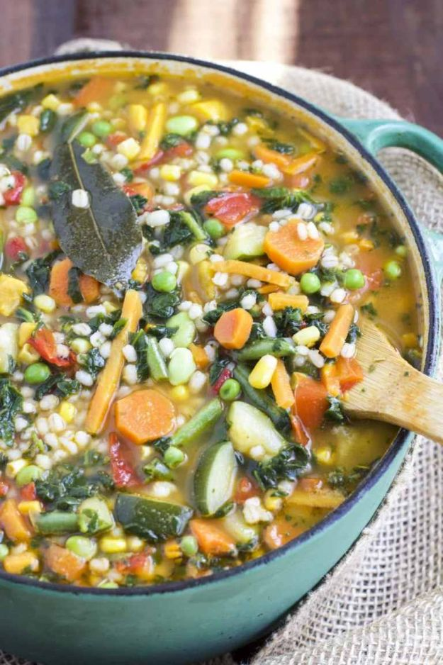 Recipes for Clean Eating - FGarden Veggie Barley Soup - Raw and Whole Foods, Unprocessed Meal and Snack Ideas for Lunch and Dinner - Fresh, Healthy Foods and Recipe Ideas