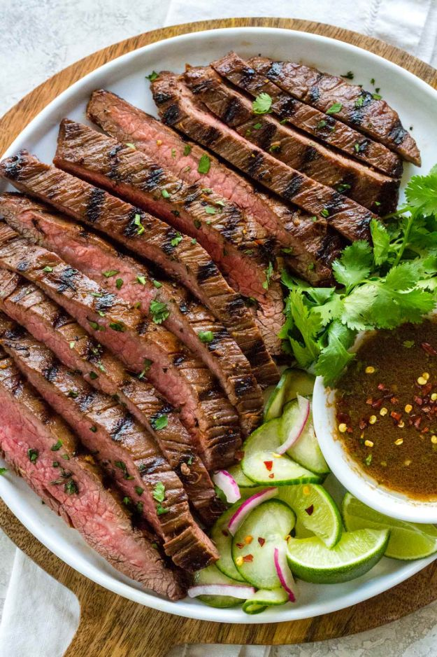 Potluck Recipe Ideas - Grilled Flank Steak - Easy Recipes to Take To Potlucks - Dinner Casseroles, Salads, One Pot Meals, Pasta Dishes, Quick Crockpot Recipes