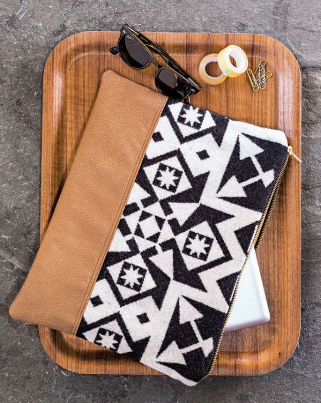 DIY Laptop Bags - Hand-Stitched Home & DIY Pendleton Laptop Sleeve - Easy Bag Projects to Make For Your Computer - Cool and Cheap Homemade Messnger Bags, Cases for Laptops - Shoulder Bag and Briefcase, Backpack