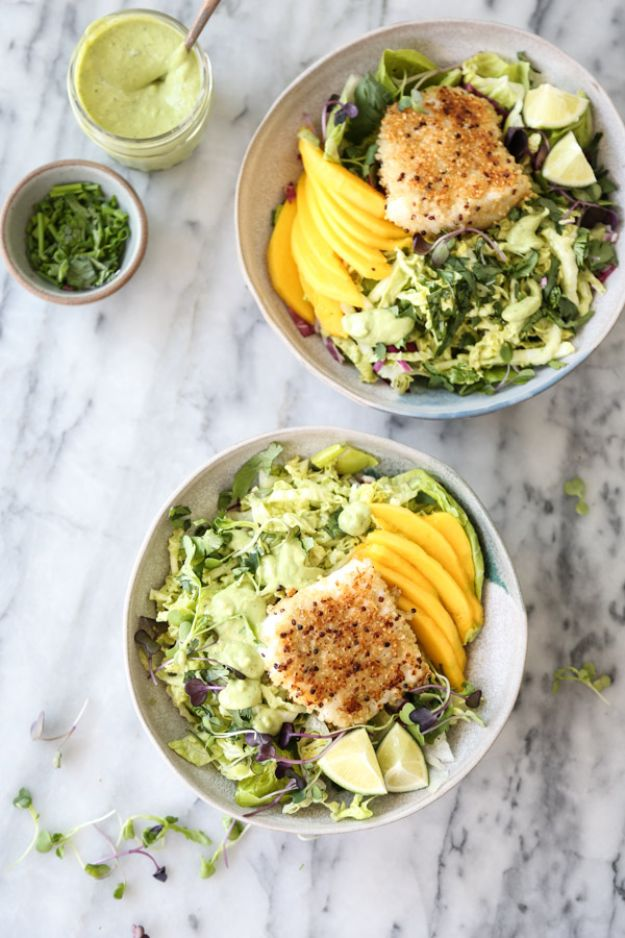 Recipes for Clean Eating - Healthy Fish Taco Bowls with Mango and Avocado Slaw -Raw and Whole Foods, Unprocessed Meal and Snack Ideas for Lunch and Dinner - Fresh, Healthy Foods and Recipe Ideas