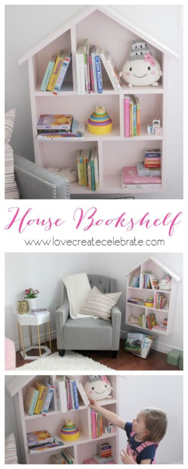 DIY Bookshelves - House Bookshelf - Easy Book Shelf Ideas to Build for Cheap Home Decor - Tutorials and Plans, Best IKEA Hacks, Rustic Farmhouse and Mid Century Modern