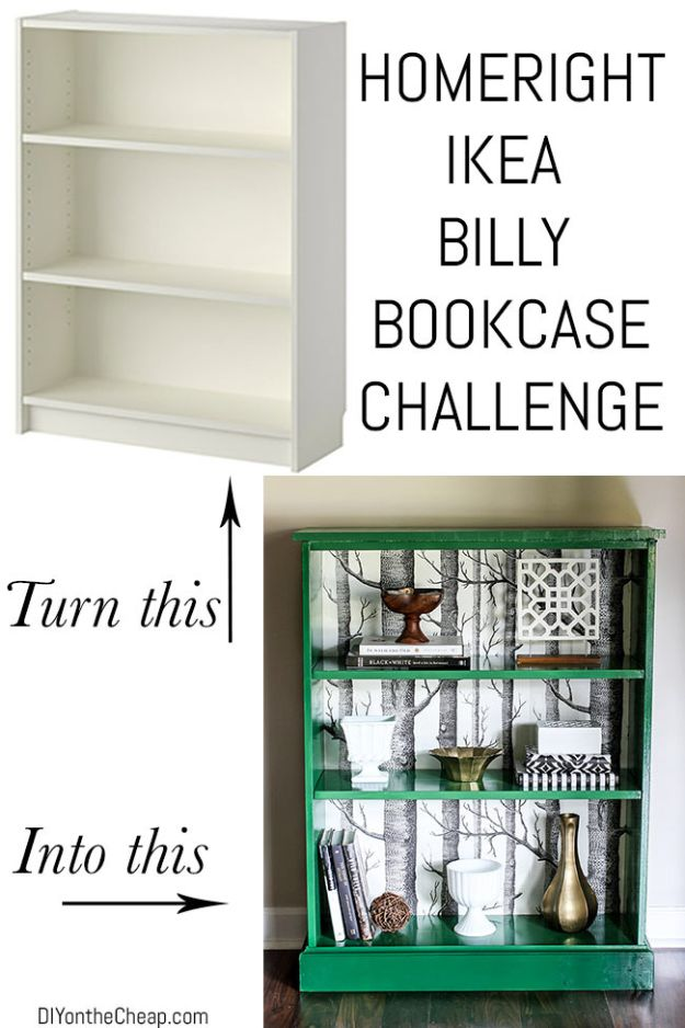 DIY Bookshelves - IKEA Billy Bookcase Makeover - Easy Book Shelf Ideas to Build for Cheap Home Decor - Tutorials and Plans, Best IKEA Hacks, Rustic Farmhouse and Mid Century Modern